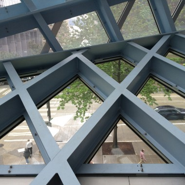 Detail of the Seattle Central Library's latticed skin (photo by Liz Thelen-Torres, Gould Evans)