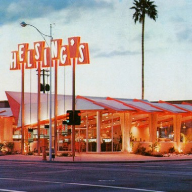 Helsings, a popular coffee shop and example of mid-century 'googie' architecture by John Sing Tang, Arizona's first Chinese-American architect.  Built in 1959, the building anchored the corner of Central and Osborne, near Gould Evan's original Phoenix office.  It was torn down to construct a Walgreens. (image: Library of Congress)