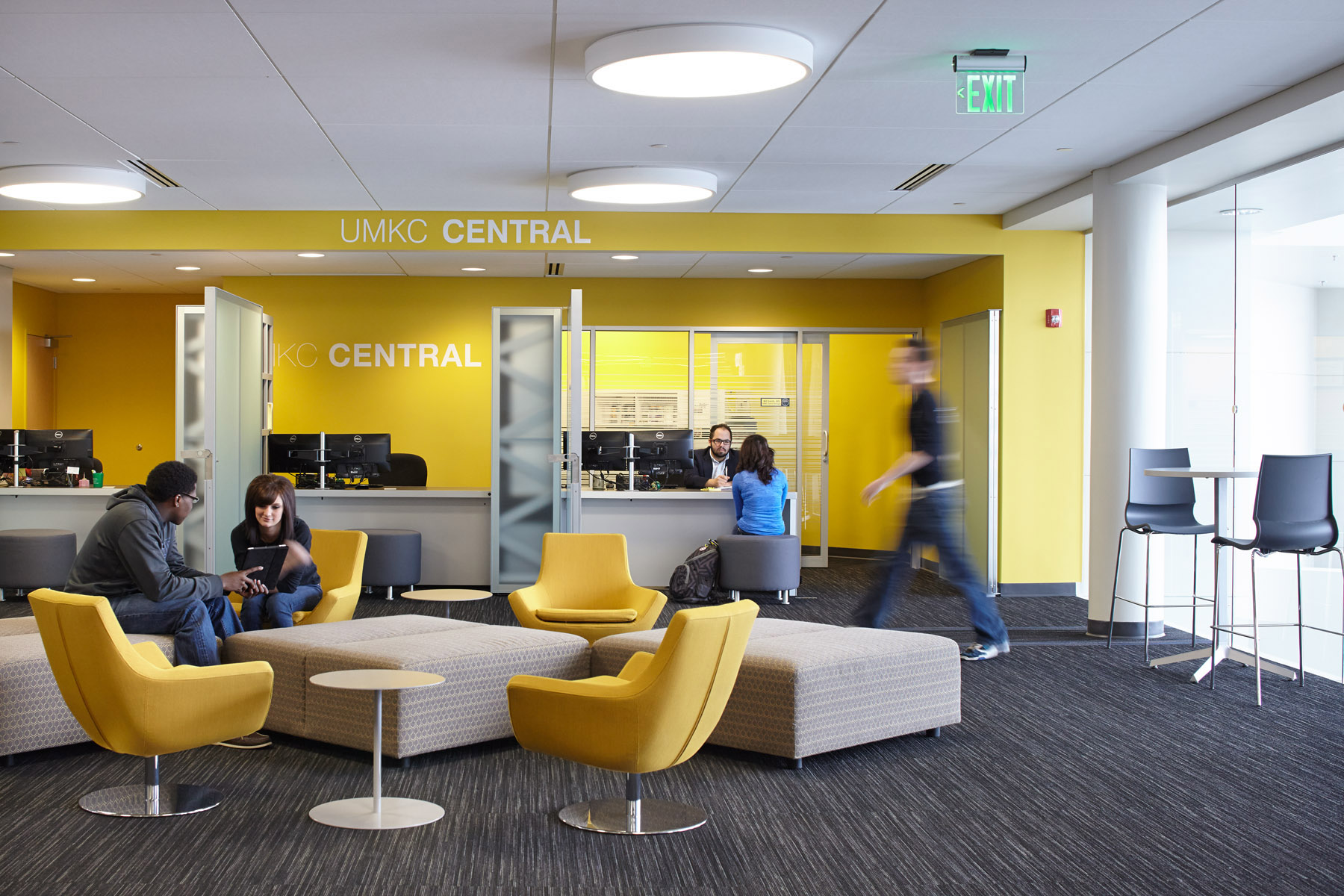 The design of the UMKC Atterbury Student Success Center was conceived to help break down students' intimidation to access services such as tutoring and advising. We organized space to blur the lines between administrative, academic and support services using vibrant lounge space as the binding medium (image credit: Mike Sinclair).