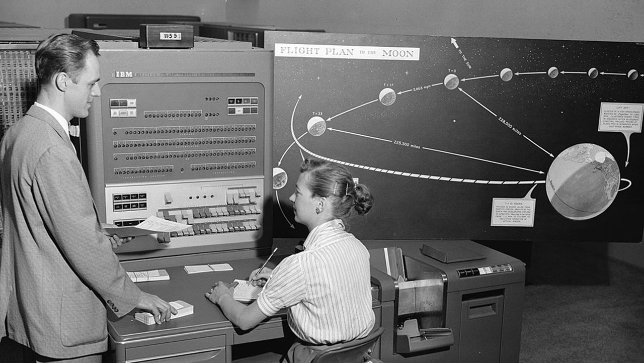 "Before mechanical computers, the ""Rocket Girls"" were considered the U.S. government's first ""computers"" in 1942. These women manually calculated the trajectories of the early NASA space missions. Image credit: Nathalia Holt, ""Rise of the Rocket Girls"""