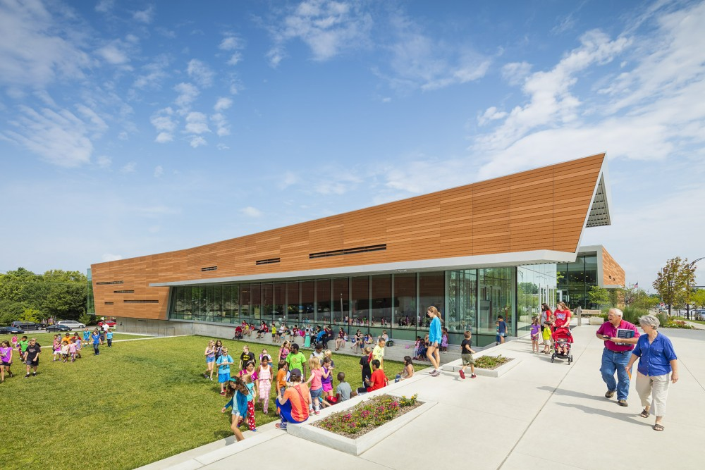 exterior shot of lawrence public library