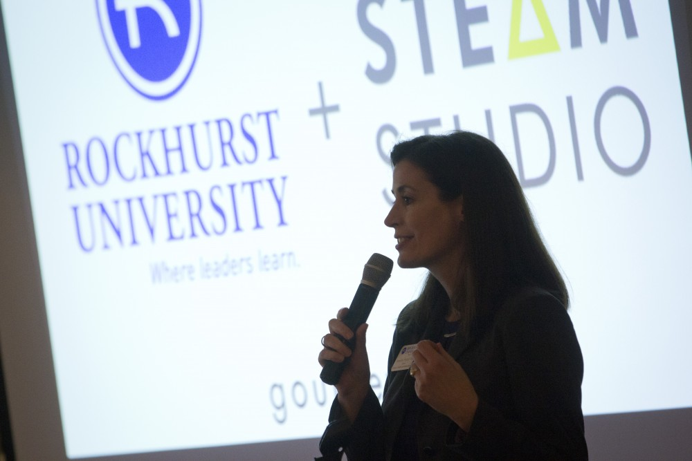 Jennifer Price, Dean of the College of Health & Human Services speaks on the exciting new partnership at the STEAM Studio annual luncheon in May of 2018 (Image credit: Tim Linn, Rockhurst University).